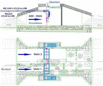 Abbildung 10 Grundriss Damm und Wehrklappen Dirlewang.