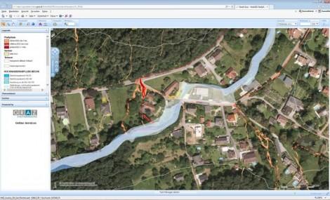 Abbildung 18 Fließpfadkarte eines Flusses bei dem übertreten der Ufer